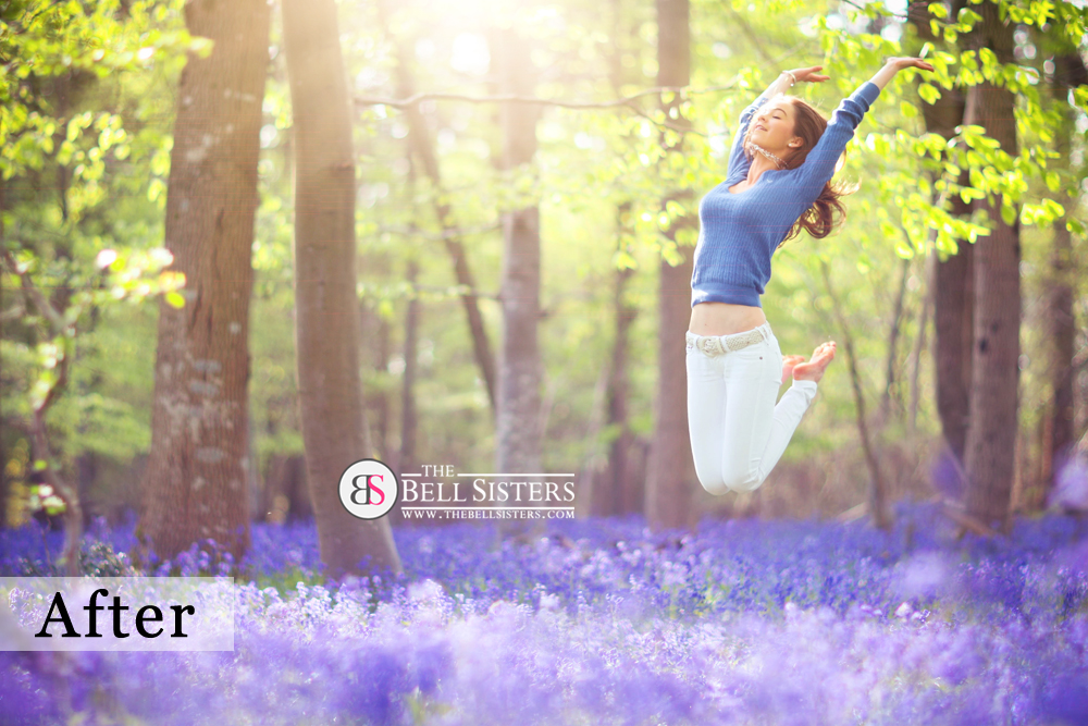A Bluebell Jump Photograph - edited with The Sunflares Pack.